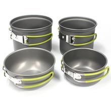 LGFM-4Pcs Outdoor Camping Hiking Picnic Cookware Pot Bowl Set