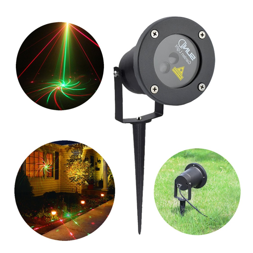 AUCD 8 Big Gobos Red Green Projector Laser Lights Landscape Waterproof Outdoor / Indoor Garden Home Xmas Lighting GO-08RG outdoor waterproof green lamp red garden tree laser landscape projector with 10 feet cable christmas lights star