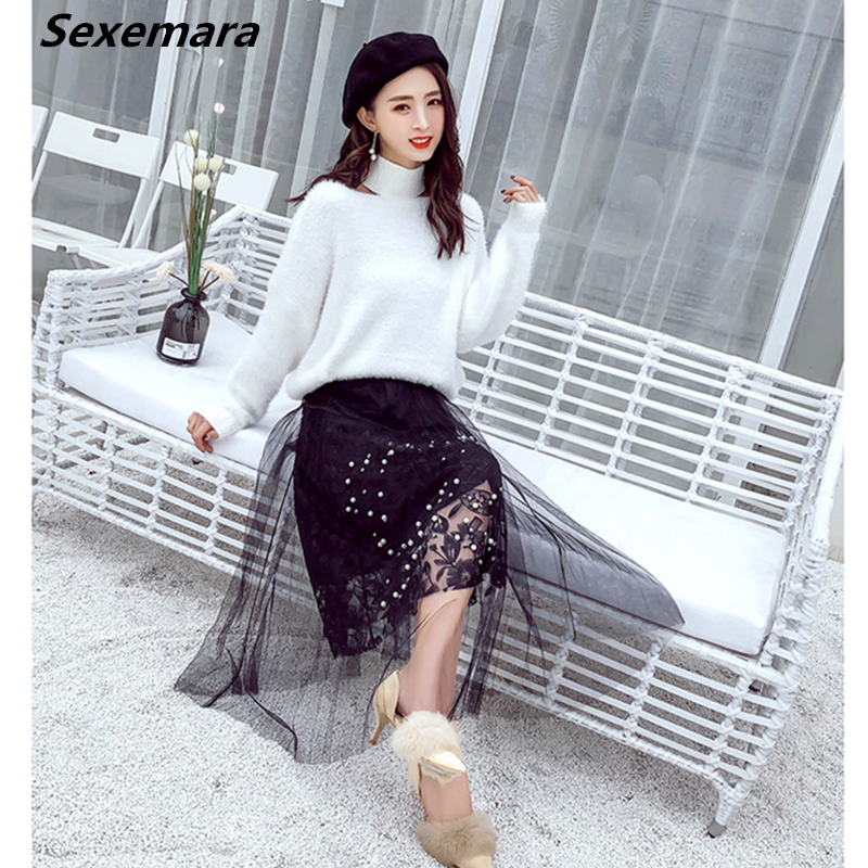 women pleated skirt summer fashion empire embroidery polyester 3 in 1 design Pearl decoration lace skirt Sexemara Free shipping