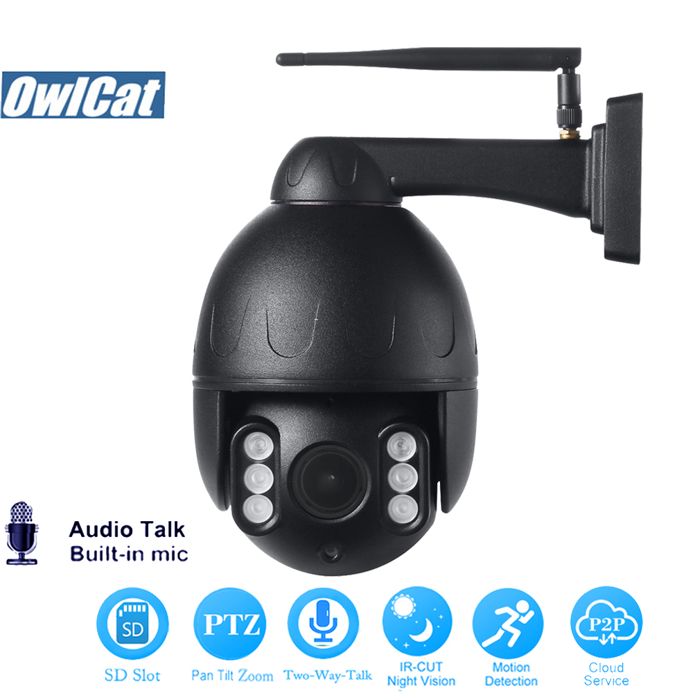 OwlCat HD 1080P PTZ IP Camera Wifi Outdoor Two Way Audio SD Card Slot Phone Remote View 2.0MP Onvif Security CCTV Street CameraOwlCat HD 1080P PTZ IP Camera Wifi Outdoor Two Way Audio SD Card Slot Phone Remote View 2.0MP Onvif Security CCTV Street Camera