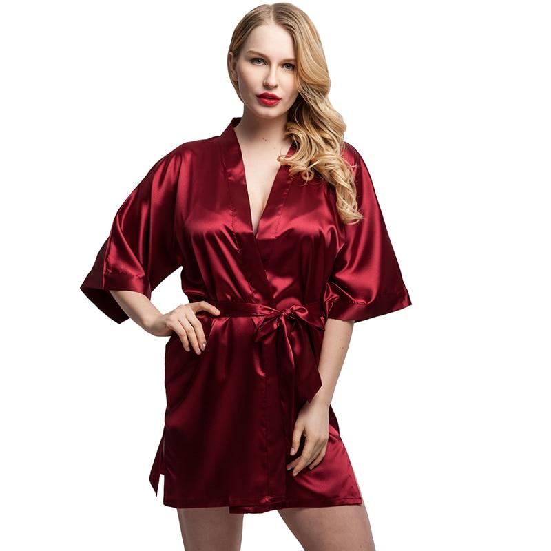 2017 women short satin kimono robes women knee length bathrobe sexy lingerie sleepwear fashion. Black Bedroom Furniture Sets. Home Design Ideas