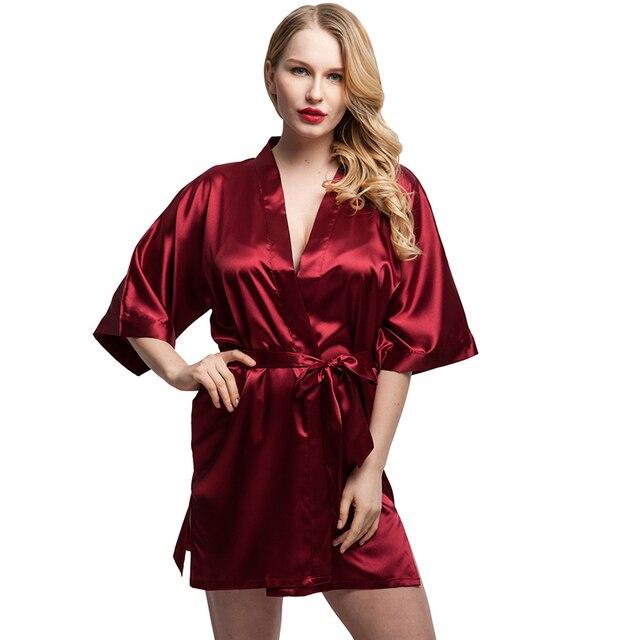 info pour 9ac4a eb71a € 9.75 30% de réduction Aliexpress.com: Acheter 2018 femmes courtes Satin  Kimono Robes femmes genou longueur peignoir Sexy Lingerie vêtements de nuit  ...
