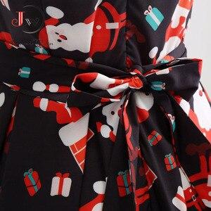 Image 5 - S ~ 3XL Di Natale Delle Donne del Vestito Stampa Floreale Abito Vintage Sottile Casual Senza Maniche Elegante Midi Vestiti Da Partito Vestidos Robe