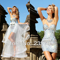 2017 Sexy Sequin Sheath Cocktail Dresses Sweetheart Crystal Beaded Prom Dresses With Long Tulle Skirts And Bow Cover Custom Made