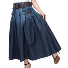 Модная летняя джинсовая универсальная свободная джинсовая юбка кэжуал эластичная талия длинная юбка для женщин с поясом S-2XL