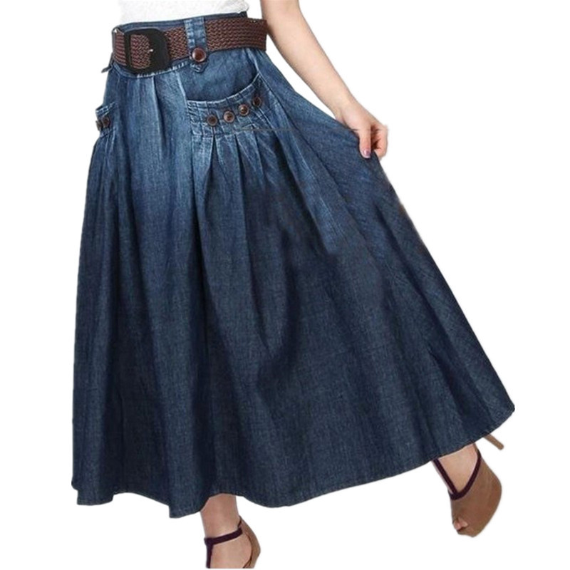 Free Shipping 2020 Fashion Summer Denim All-match Loose Casual Jeans Skirt Elastic Waist Long Skirt For Women With Belt S-2XL