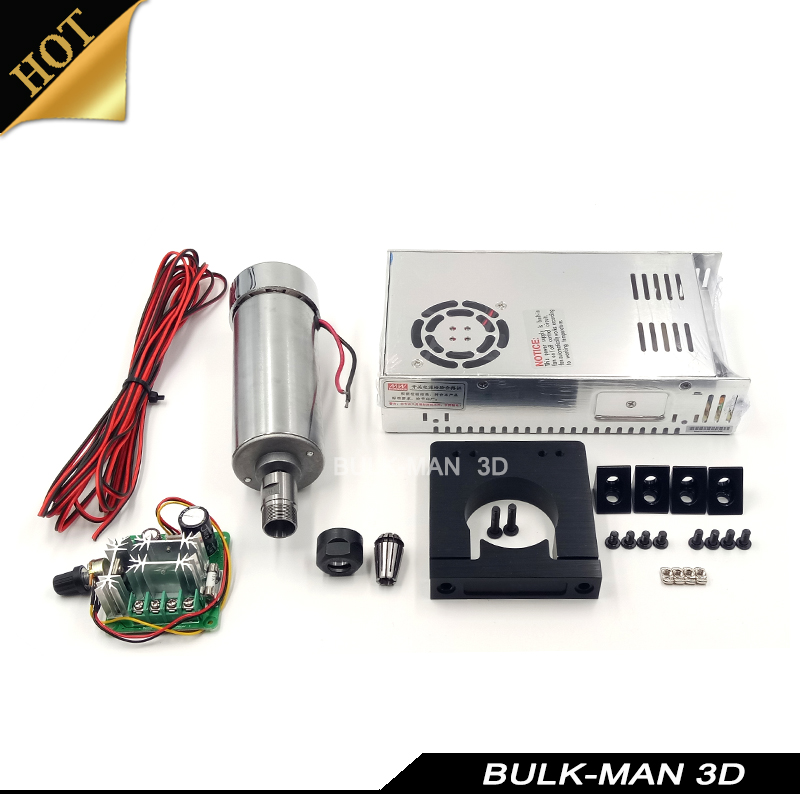 400W CNC 12V- 48V DC Air Cooled Spindle Motor with PWM Speed Controller and spindle Mount Kit 65mm for DIY CNC Router Machine цена