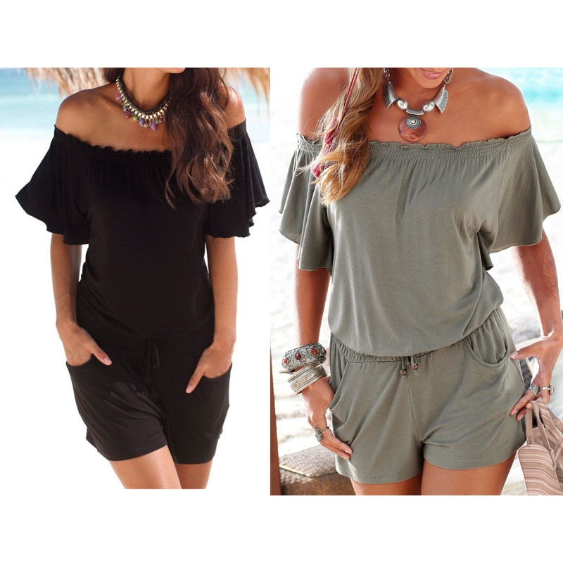 Romper women jumpsuit Sexy Boho loose Playsuit Summer Shorts SLASH neck bodysuit Outfits Beach SEXY casual Plus size S-2XL