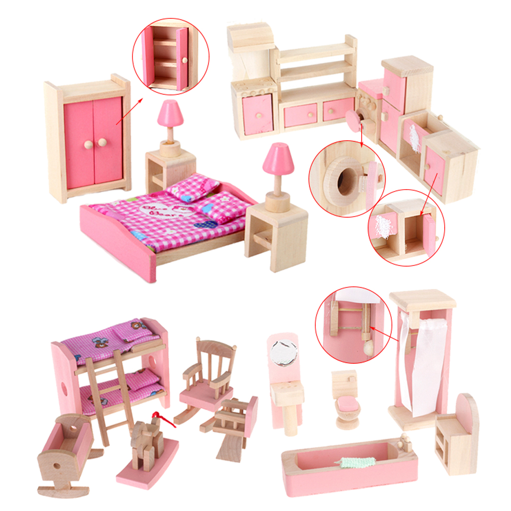 cheap dollhouse furniture. 4 Set Dollhouse Furniture Kid Toy Bathroom Room Bedroom Kitchen Classic Toys Pretend Play Girl Decroation-in From Cheap U