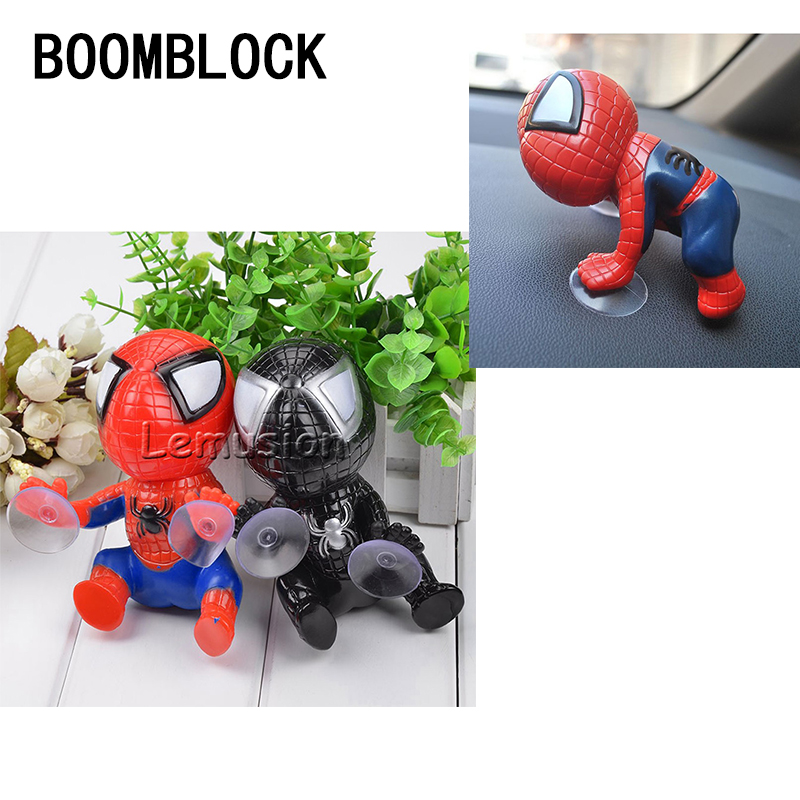 1X Car 3D Spiderman Styling Suckers For Toyota Corolla Seat Leon Jeep Fiat Skoda Fabia Rapid Renault Duster Accessories