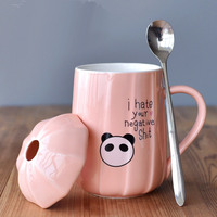 Cute cartoon ceramic milk cup Creative mushrooms panda animal cup 400 ML Small fresh cups