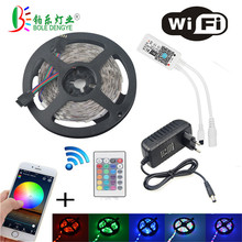 цены WIFI RGB LED Strip Light SMD 2835 20M 15M RGB tape DC12V Waterproof RGB ribbon diode 5M 10M led Flexible and WIFI Controller