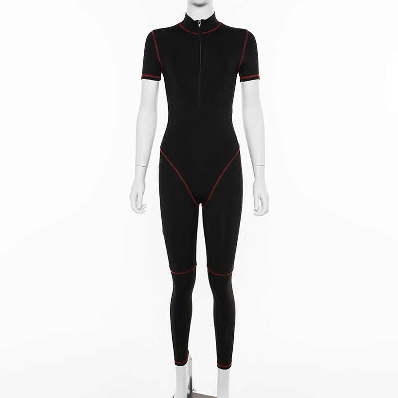 ร่วมเพศฟิตเนสสปอร์ตสวมใส่ Rompers Womens Jumpsuit Zipper Patchwork สบายๆออกกำลังกายแขนสั้นแฟชั่น 2019