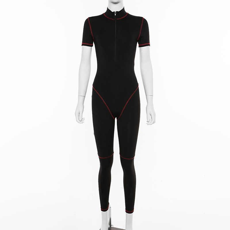 Ropa Deportiva deportiva para mujer mono con cremallera Patchwork informal de entrenamiento de manga corta Bodysuits moda 2019