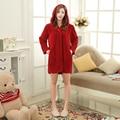 Com capuz de pelúcia de treino para mulheres Truien chifre botão Sexy Sleepwear malha de Hoodies Tops sono vestes de dama de honra