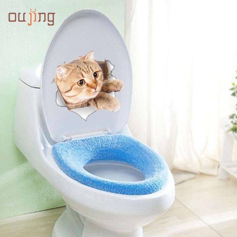 Oujing жизни дома номер Туалет DIY 3D стены Стикеры милый кот отверстие вид Ванная комната Наклейки на стену Adesivo де Parede Adesivo де parede