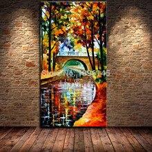 Moderna 100% handmade Abstrato chuva noite Rua Paisagem faca pintura a Óleo pintura Em Tela de Wall Art imagem para Sala de estar em casa decoração