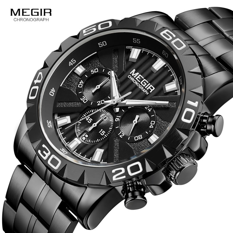 MEGIR Men's Business Quartz Watches Stainless Steel Waterproof Chronograph Luminous Wristwatch Man Relogios Clock 2087 Black