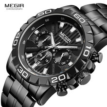 MEGIR Mens Business Quartz Watches Stainless Steel Waterproof Chronograph Luminous Wristwatch Man Relogios Clock 2087 black