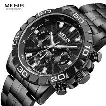 MEGIR Mens Business นาฬิกาควอตซ์นาฬิกาข้อมือสแตนเลสสตีลกันน้ำนาฬิกาข้อมือ Chronograph Luminous Man Relogios นาฬิกา 2087 สีดำ