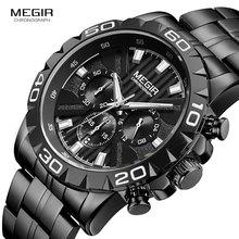 MEGIR erkek iş kuvars saatler paslanmaz çelik su geçirmez Chronograph aydınlık kol saati adam Relogios saat 2087 siyah