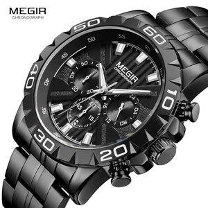 Image 1 - MEGIR montre daffaires à Quartz pour hommes, en acier inoxydable, chronographe étanche lumineux, horloge noire, 2087