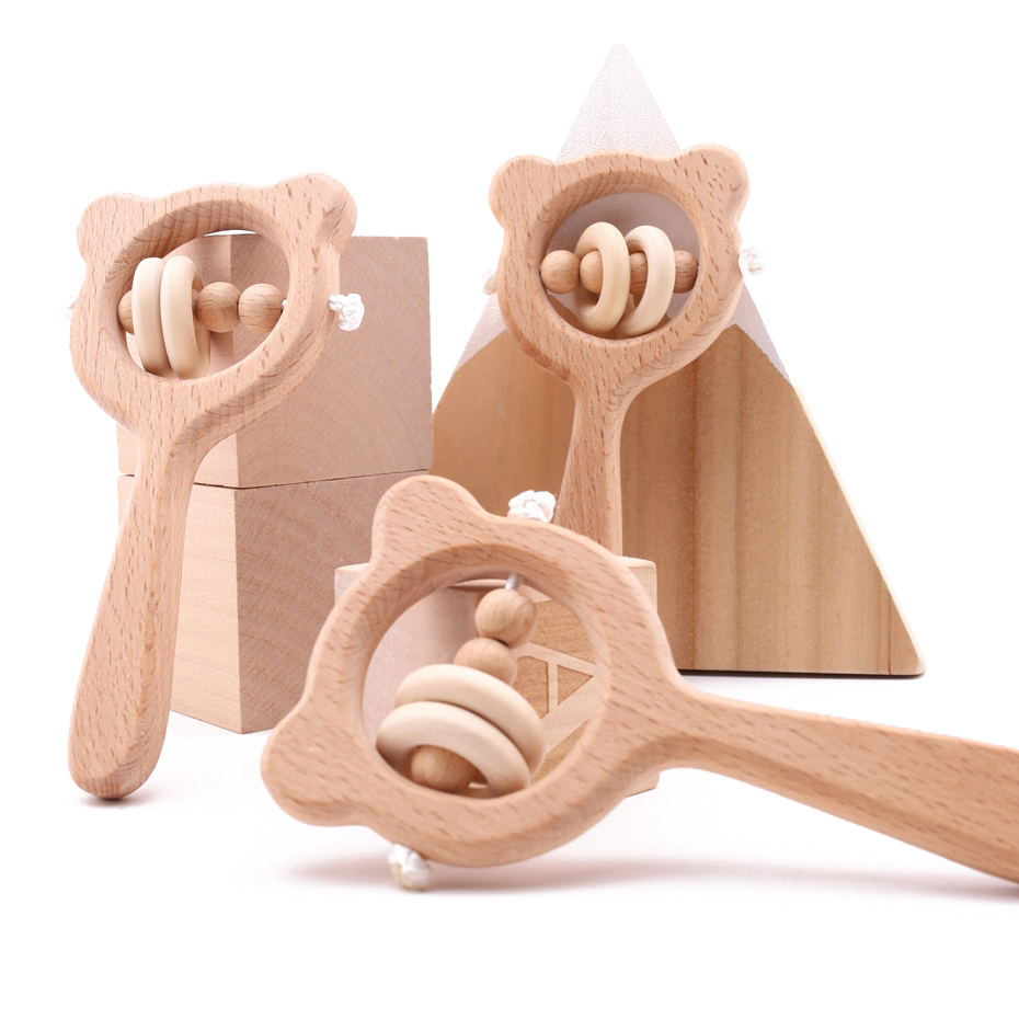 Wooden Rattle Beech Bear Hand Teething Wooden Ring Baby Rattles Play Gym Montessori Stroller Toy For Kid Products  Let's Make