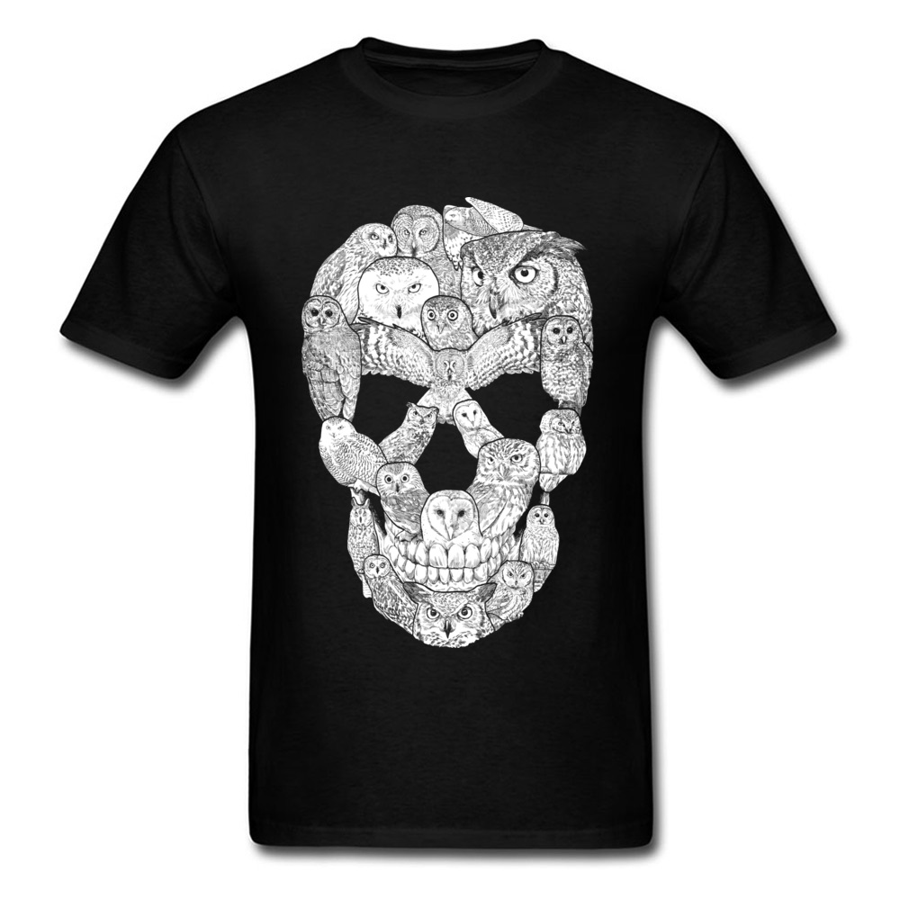 Sketchy Owl Skull Mother Day 100% Cotton Fabric Crew Neck T Shirt Short Sleeve Group Tops T Shirt Company Slim Fit T-Shirt Sketchy Owl Skull black