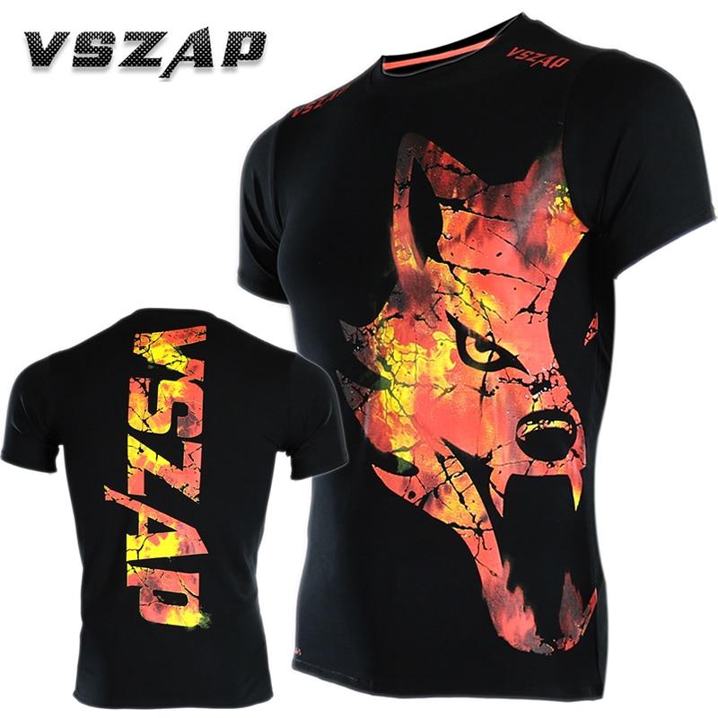 VSZAP Bangkok WOLF Boxing MMA T Shirt Gym Tee Fighting Martial Arts Fitness Training