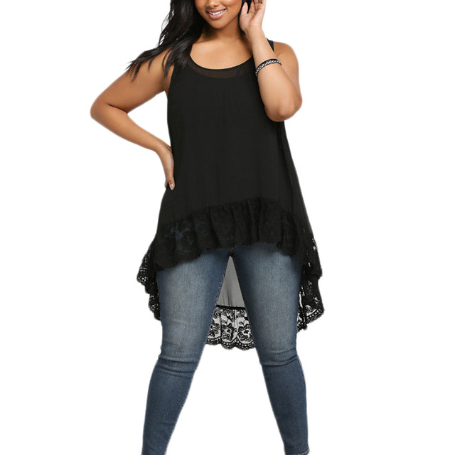 e88aa39fb84 Plus Size! Woman Vest Long Loose Chiffon Lace Summer Sleveless Women Tanks  Slim Black Tops Size XL-4XL