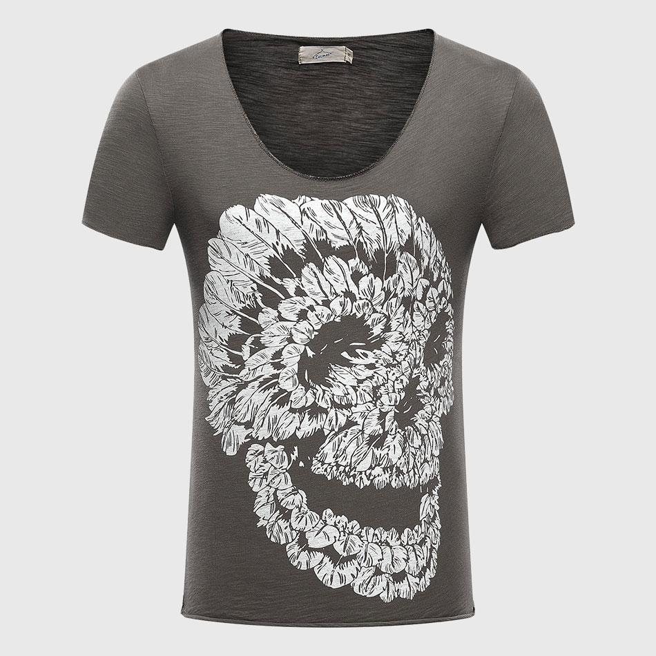 T-shirt uomo Skull 3D T-shirt in cotone Graphic Top T-shirt con scollo a V Piuma stampata Scoop Casual Fit Punk Rock