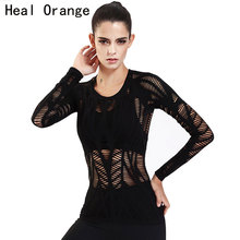HEAL ORANGE Women Yoga Top Hollow Out Full Sleeve Quick Dry Sports Gym Running Jogging Shirt