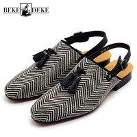 Designer 2018 NEW Back Buckle Srap Sandals Men Fashion Slip On Tassel Loafers Men Summer Flat Baotou Ripple Slippers Outdoor