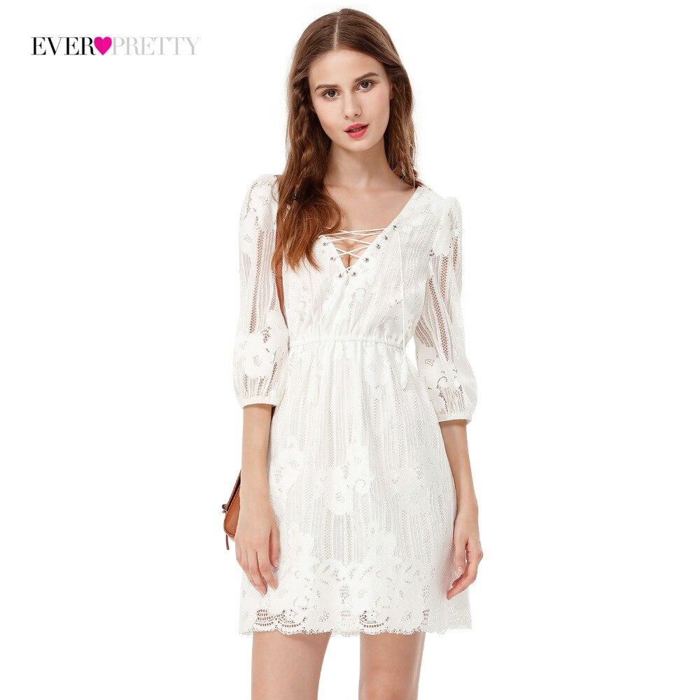 42a8b6daba4 Распродажа Ever Pretty брендовые сексуальные белые короткие платья для  вечеринок женские Иллюзия Кружева Дешевые Коктейльные повседневные