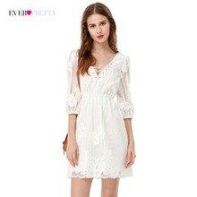 b338c2bfa1 Rozliczenie kiedykolwiek dość marka Sexy biały krótki sukienek kobiety  Illusion koronka tanie Cocktail Casual suknie z rękawami .