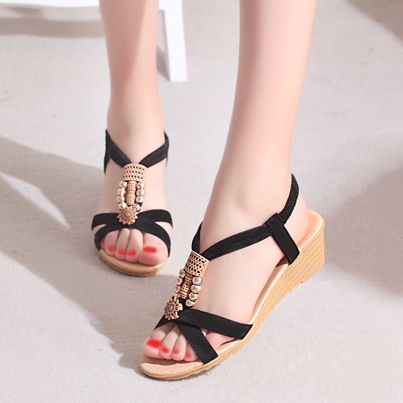 Summer Women Sandals 2017 Gladiator Sandals Women Shoes Bohemia Wedges Shoes Zapatos Mujer Ladies Shoes New Flip Flops B-13-2 2017 summer new rivet wedges sandals creepers women high heel platform casual shoes silver women gladiator sandals zapatos mujer