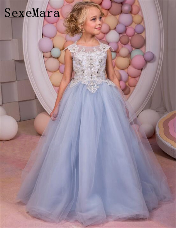 Fancy New Flower Girl Dress Lace Up Crew Neck Mesh Ball Gowns Kids Holy Communion Dresses For Christmas 2-14