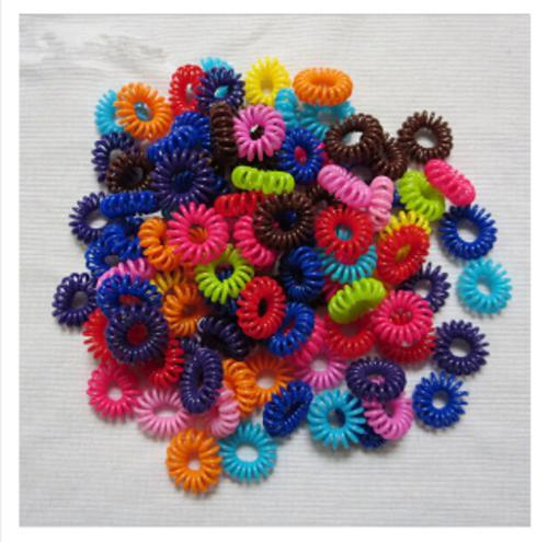 Hot Sale 1 Piece Mixed Color Plastic Telephone Wire Shape Women Headwear Elastic Hair Bands