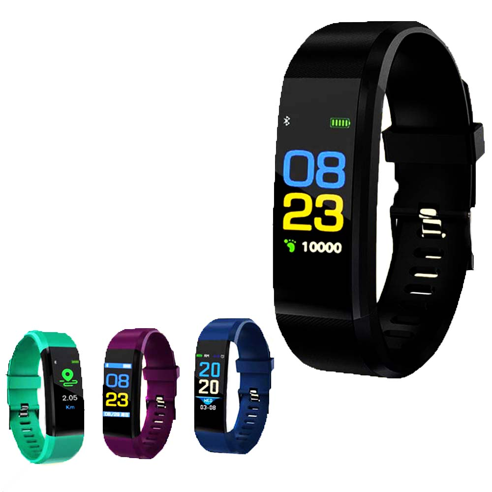 Color screen pedometer 115plus smart heart rate waterproof sleep reminder clock touch Bluetooth fitness watch