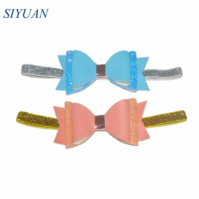 12pcs lot 4 39 39 PU Leather Bow Headband Elastic Glitter Tinsel Hairband European Style kids Headwrap Bandeau For Party HB055 in Hair Accessories from Mother amp Kids