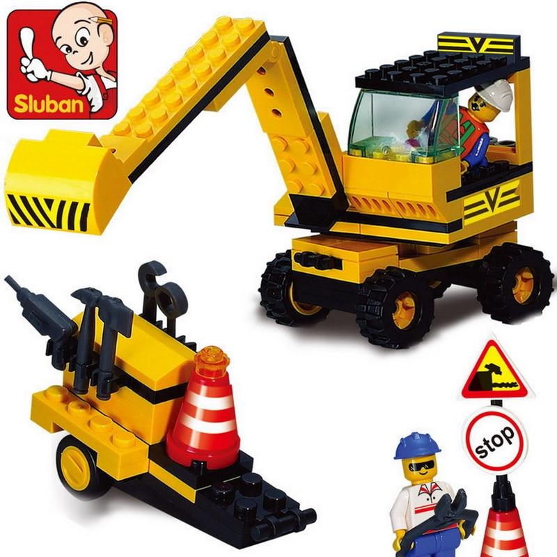 106 Pcs Graafmachine Graver Kraanwagen Auto Model Bouwsteen Speelgoed Sluban 9600 Diy Educatieve Cadeau Voor Kinderen Compatibel Legoe Delicious In Taste
