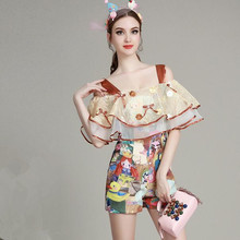 European style new summer women fashion Suspenders strapless double flounced printing piece pants shorts T95