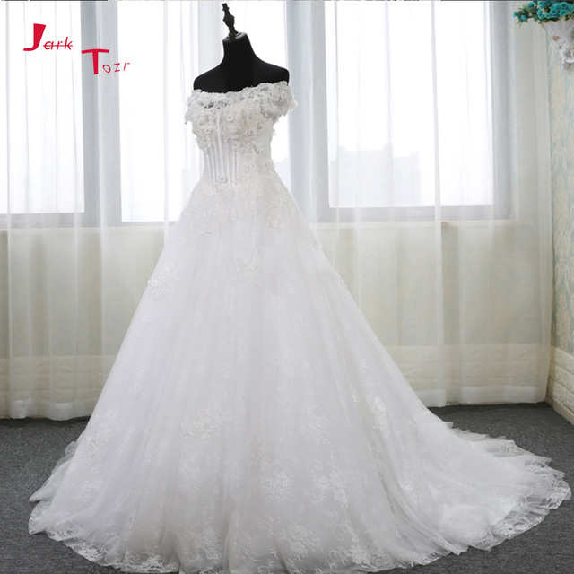Jark Tozr Custom Made A-line China Bridal Gowns 2018 Robe De Mariee Crystal Appliques Flowers Wedding Dresses With Petticoat