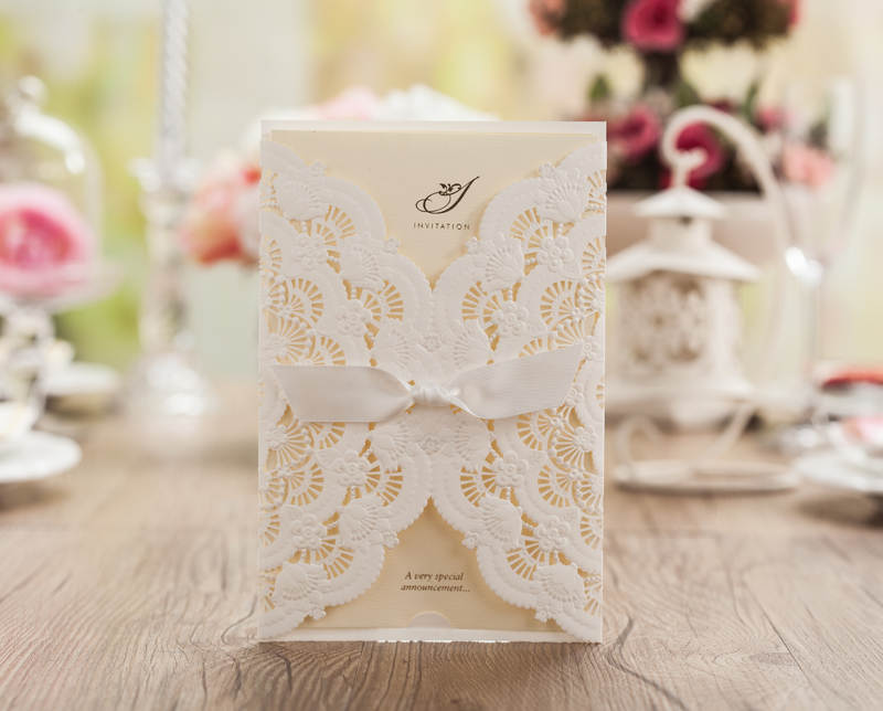 Laser Cut Wedding Invitations Blank White Birthday Invitation Card ...