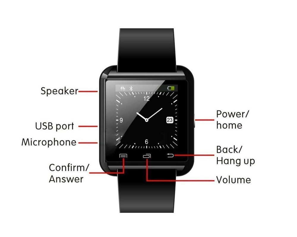 Newest Smart Watches U8 Sport Pedometer Handsfree Bluetooth Smartwatch Wristband for Android Phone Black U8 3