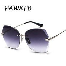 Wholesale PAWXFB Luxury Gradient Rimless Sunglasses Shades For Ladies Fashion Brand Designer Diamond Sunglasses(A lot 3 Pieces)