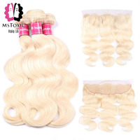 Mstoxic Body Wave 613 Blonde Bundles With Frontal Brazilian Hair Weave Bundles With Closure Remy Human Hair Bundles With Frontal