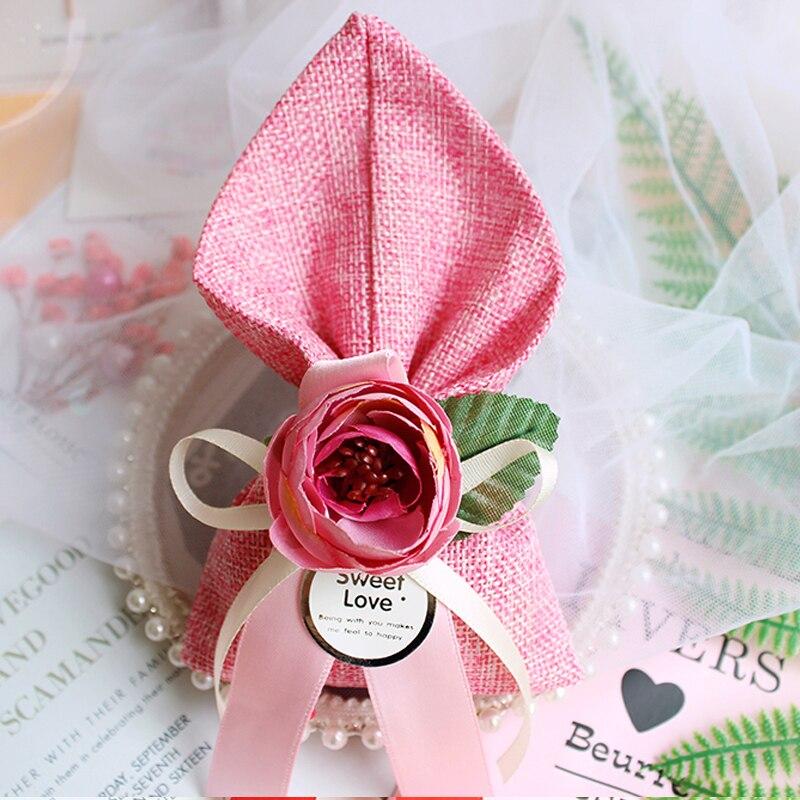 50 pcs/lot nouveau sac en lin boîte à bonbons de mariage Rose cadeau sacs bébé douche boypackaging coffrets cadeaux Bonbonniere événement fête fournitures-in Sacs-cadeaux et emballages from Maison & Animalerie    1