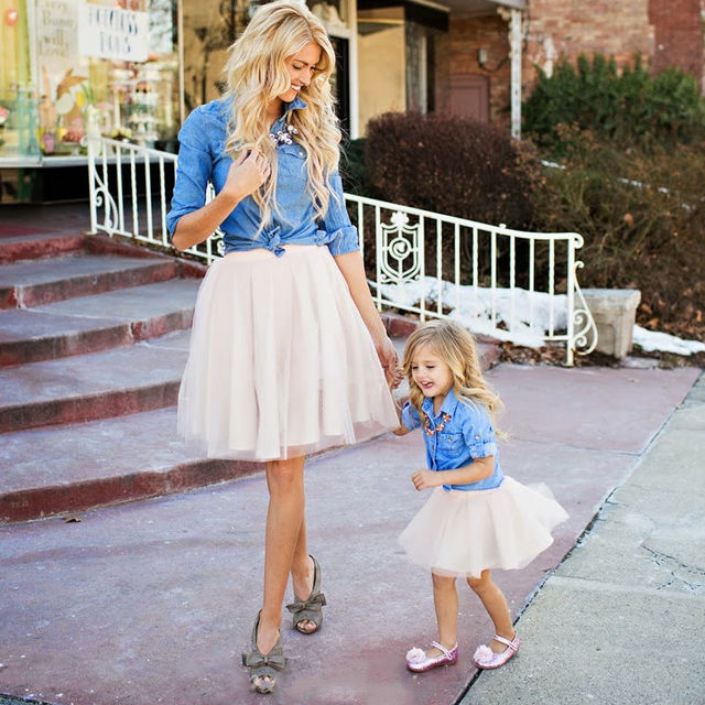 7c6592672e Family Match Clothes Women Kid Mother Daughter Denim Coat Tutu Skirt Outfits  Set Summer Cute Clothes Set