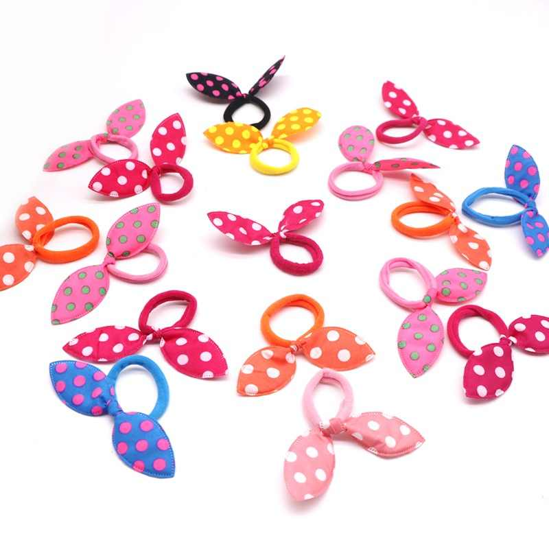 10Pcs Multicolor Scrunchy Gum Springs Headband Hair Accessories Hair Ribbon Dot Elastic Ring Hairdressing Elastic Styling Braid